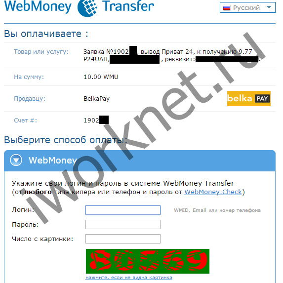 Webmonet transfer