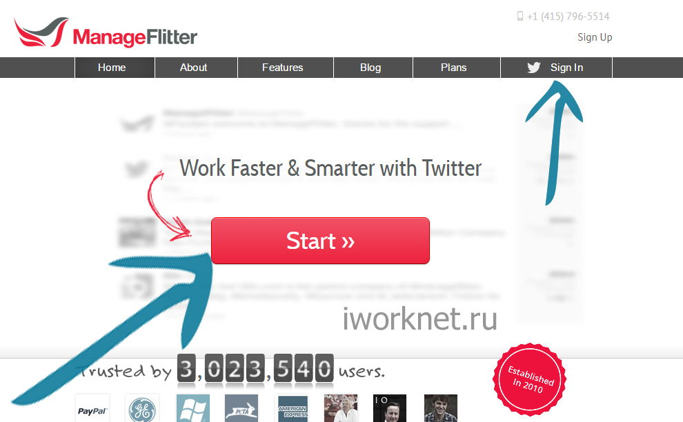 "Нажимаем ""Start"" либо ""Sign in"" ManageFlitter"