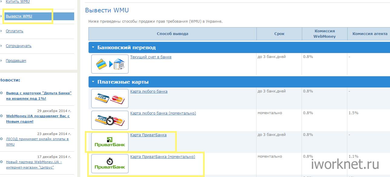 Вывести WMU -> Карта Приватбанка