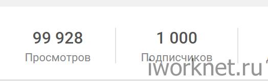 Одна тысяча подписчиков на youtube