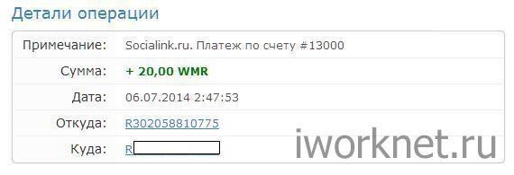 Socialink выплата на вебмани